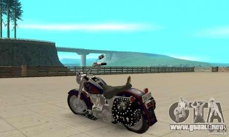 Harley Davidson FLSTF (Fat Boy) v2.0 Skin 4 para GTA San Andreas vista posterior izquierda