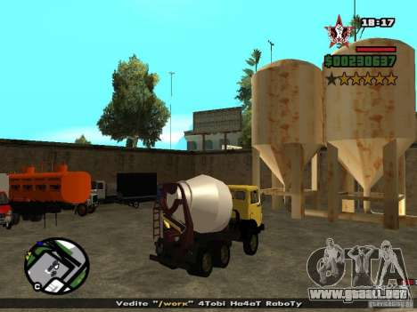 KAMAZ 53112 hormigonera para GTA San Andreas left