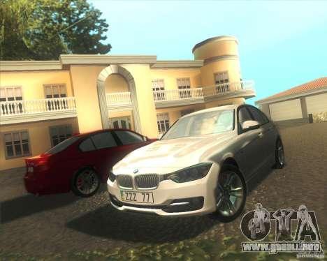 BMW 3 Series F30 2012 para vista lateral GTA San Andreas