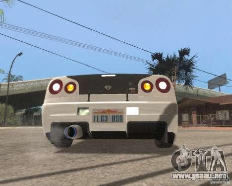 Nissan Skyline R-34 TUNED para la visión correcta GTA San Andreas