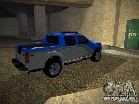 Nissan Frontier PMERJ para GTA San Andreas vista posterior izquierda