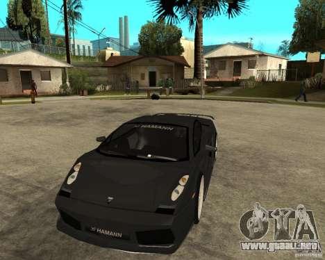 Lamborghini Gallardo HAMANN Tuning para GTA San Andreas vista hacia atrás