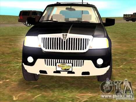 Lincoln Navigator para GTA San Andreas vista hacia atrás