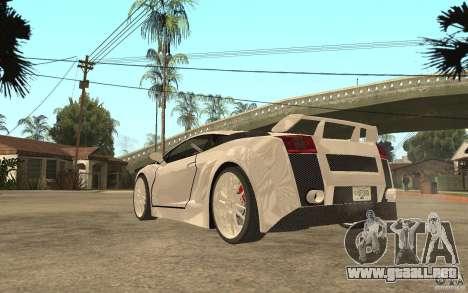 Lamborghini Gallardo MW para GTA San Andreas vista posterior izquierda