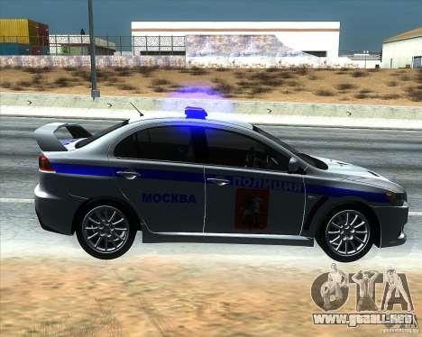 Mitsubishi Lancer Evolution X PPP policía para GTA San Andreas left