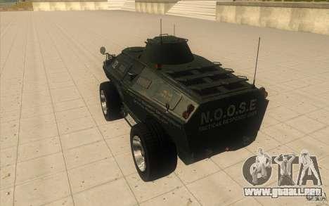 Vehículos blindados de la GTA 4 TBOGT Original c para GTA San Andreas vista posterior izquierda