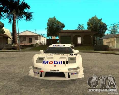 2001 Honda Mobil 1 NSX JGTC para GTA San Andreas vista hacia atrás