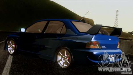 Mitsubishi Lancer Evolution IIIV para GTA San Andreas vista posterior izquierda
