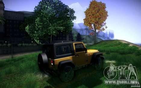 Jeep Wrangler Rubicon 2012 para GTA San Andreas vista hacia atrás