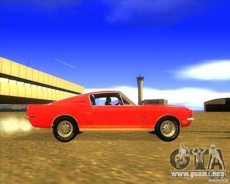 Shelby GT500KR 1968 para GTA San Andreas vista hacia atrás