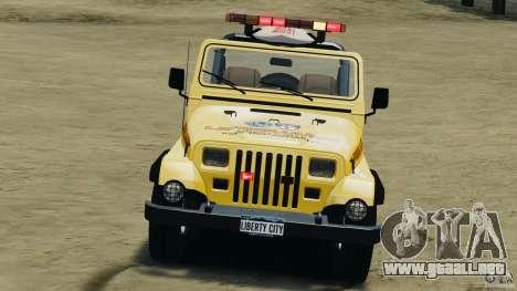 Jeep Wrangler 1988 Beach Patrol v1.1 [ELS] para GTA 4 vista interior
