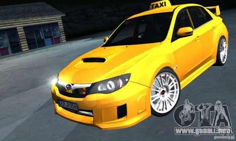 Subaru Impreza WRX STi 2011 TAXI para GTA San Andreas vista posterior izquierda