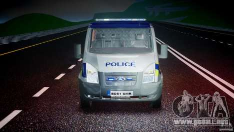 Ford Transit Polish Police [ELS] para GTA 4 vista superior