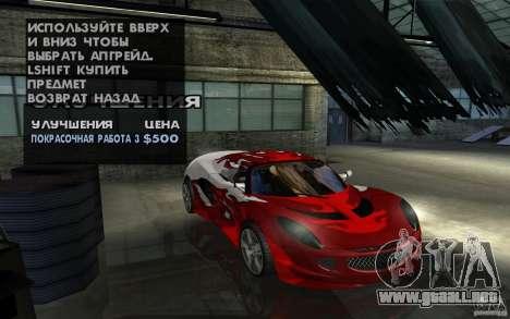 Lotus Elise from NFSMW para vista lateral GTA San Andreas