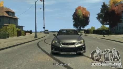 Lexus IS F para GTA 4 Vista posterior izquierda
