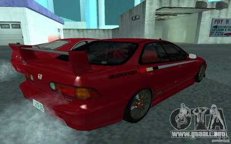 Honda Integra Type R para GTA San Andreas vista posterior izquierda