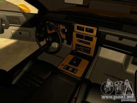 Pontiac Fiero V8 para visión interna GTA San Andreas
