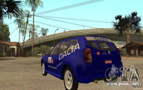 Dacia Duster Rally para GTA San Andreas vista posterior izquierda