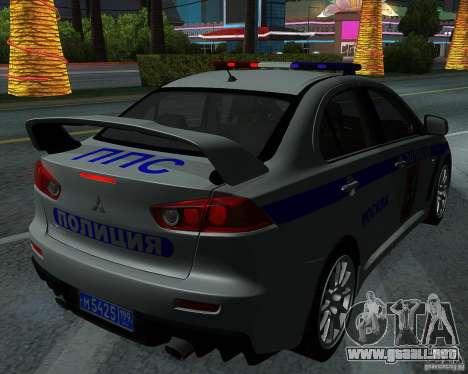 Mitsubishi Lancer Evolution X PPP policía para vista lateral GTA San Andreas