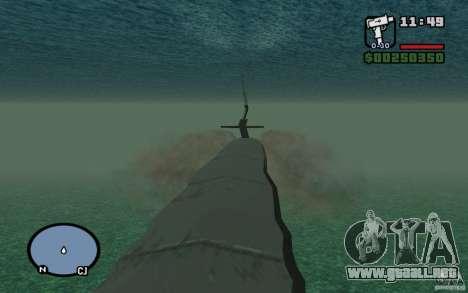 Submarino para GTA San Andreas sucesivamente de pantalla