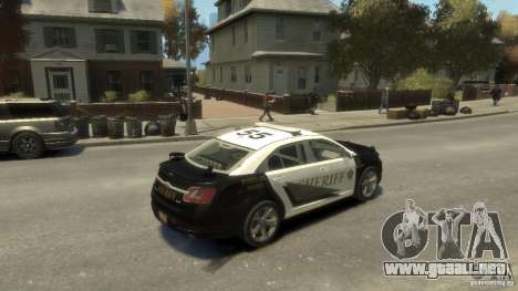 Ford Taurus Sheriff 2010 para GTA 4 vista hacia atrás
