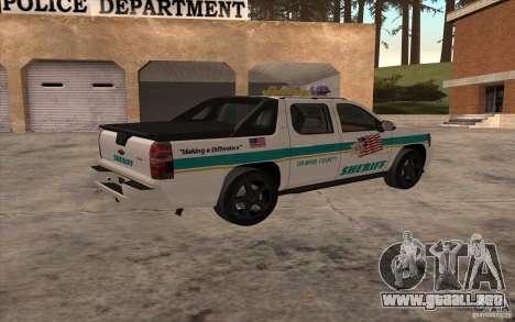 Chevrolet Avalanche Orange County Sheriff para GTA San Andreas left