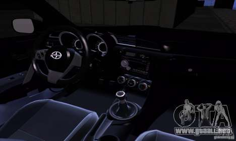 Scion Tc 2012 para visión interna GTA San Andreas
