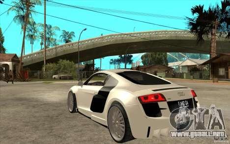 Audi R8 5.2 FSI custom para GTA San Andreas vista posterior izquierda