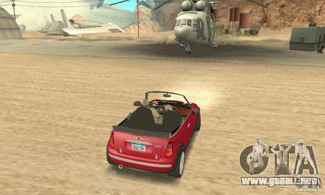 Mini Cooper Convertible para GTA San Andreas left