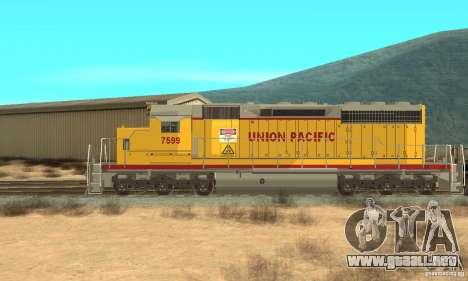Locomotora SD 40 Union Pacific para GTA San Andreas vista posterior izquierda