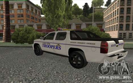 Chevrolet Avalanche Police para GTA San Andreas vista posterior izquierda
