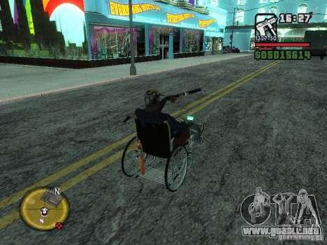 Silla de ruedas manual para GTA San Andreas vista hacia atrás