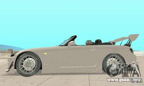 Honda S2000 Cabrio West Tuning para GTA San Andreas vista posterior izquierda
