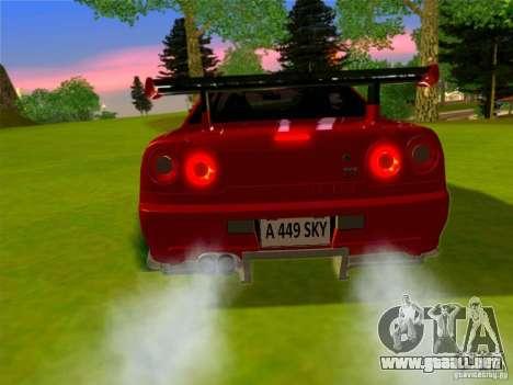 Nissan Skyline GT-R 34 para GTA San Andreas left