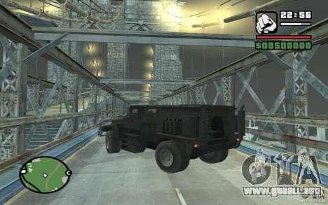Camión militar para vista lateral GTA San Andreas