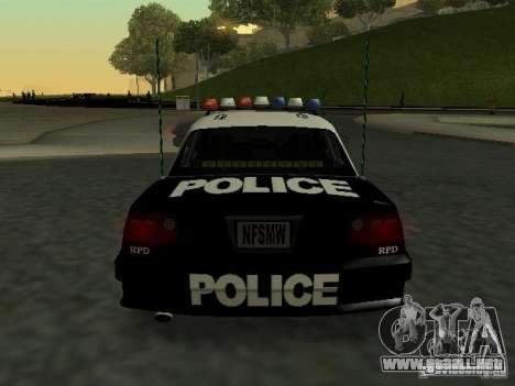 Police Civic Cruiser NFS MW para la visión correcta GTA San Andreas