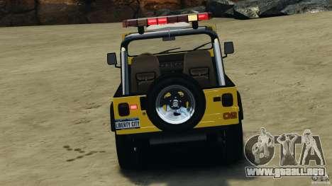 Jeep Wrangler 1988 Beach Patrol v1.1 [ELS] para GTA 4 vista desde abajo