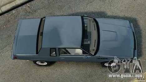 Buick GNX 1987 para GTA 4 visión correcta