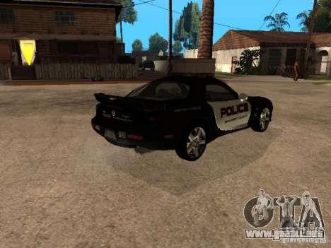 Mazda RX-7 Police para GTA San Andreas vista posterior izquierda