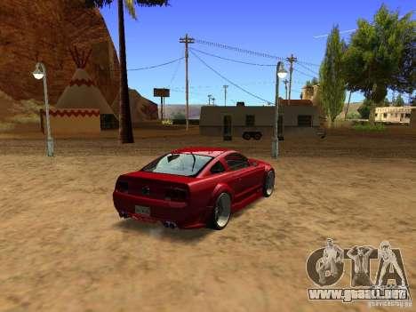 Ford Mustang GT 2005 Tuned para GTA San Andreas vista posterior izquierda