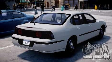 Chevrolet Impala Unmarked Police 2003 v1.0 [ELS] para GTA 4 Vista posterior izquierda