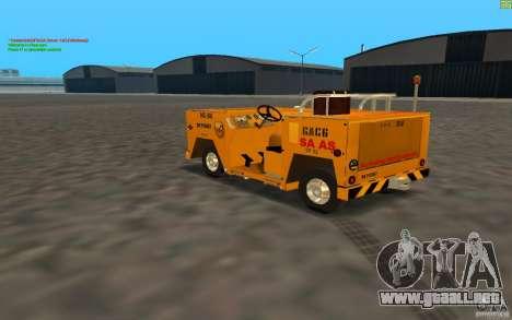 Airport Service Vehicle para GTA San Andreas vista posterior izquierda