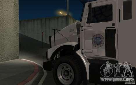 Securicar de GTA IV para GTA San Andreas vista posterior izquierda