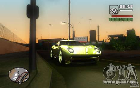 Lamborghini Miura Concept para GTA San Andreas vista hacia atrás