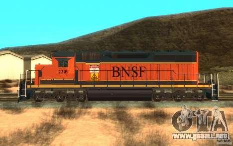 Locomotora SD 40 Unión Pacífico BNSF para GTA San Andreas left