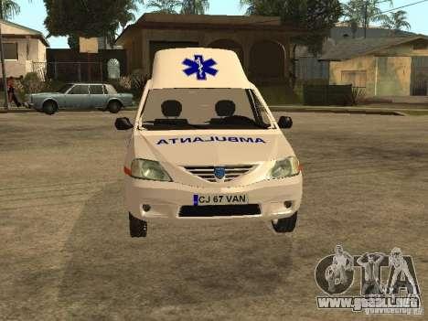 Dacia Logan Ambulanta para visión interna GTA San Andreas