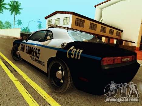 Dodge Challenger SRT8 2010 Police para GTA San Andreas vista posterior izquierda