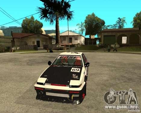 Yoshikazu AE86 para GTA San Andreas vista hacia atrás