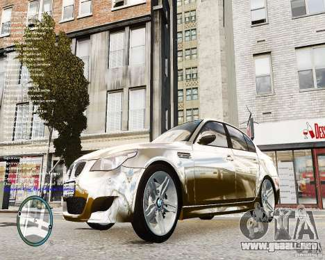 BMW M5 e60 para GTA 4 vista hacia atrás