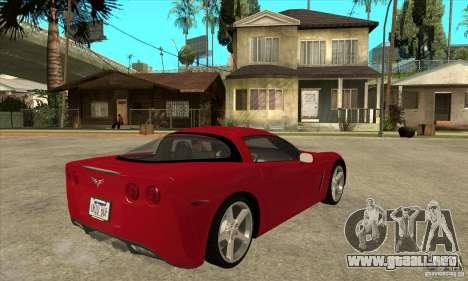 Chevrolet Corvette C6 Z51 - Stock para la visión correcta GTA San Andreas